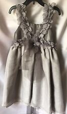 Isobella and Chloe Girls Floral Appliqué Gray Empire Waist Party Dress Sz 7-New