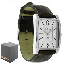 New Ben Sherman Gents Textured Silver Dial Brown Faux Leather Strap Watch BS037