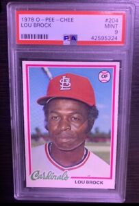 1978 O-PEE-CHEE #204 OPC by Topps LOU BROCK HOF PSA 9 MINT Cardinals St. Louis