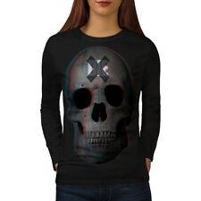Wellcoda Die Rock Metal Goth Womens Long Sleeve T-shirt, Devil Casual Design
