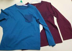 Wonder Nation Baby Boys 2pc Long Sleeve Shirt W/Pocket Size 5T Green/Wine