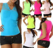 SeXy Damen Stretch Shirt Trendy Spitze Girly Top 34/36 M/L 36/38 L/XL 38/40 Neu