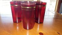 Vintage Ruby Red Tumblers Glasses Gold trim 7 10 oz flat bottom 1960