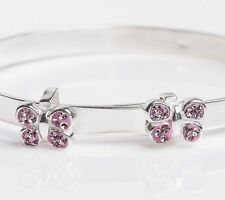 925 Solid Silver Baby Christening Bangle Expandable Bracelet Pink CZ Butterfly