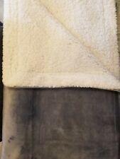 NEW Farmhouse Throw/Baby Blanket, Grey Velvety Sherpa Fleece