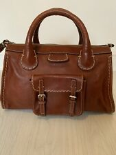 Authenic Chloe Vintage Edith Satchel Handbag Dark Tan With Dust bag