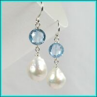 Elegant Blue Topaz & White Freshwater Baroque Pearl Dangle Drop Silver Earrings