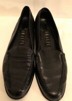 AMALFI Women's Black Leather Loafer Slip On Made In ITALY Size 8.5 B
