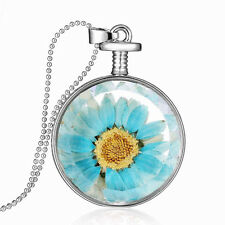 Locket Transparent Blue Long Real Necklace Sweater Chain Dried Flower Pendant