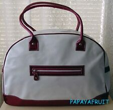 New Large Lancome Ruby Red White Patent Bowler Bag
