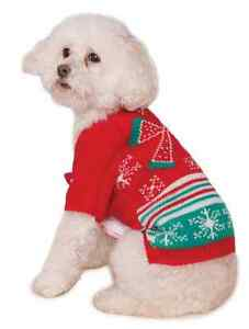 Ugly Christmas Sweater w/Bow Party Fancy Dress Up Halloween Pet Dog Cat Costume