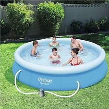 """Bestway Inflatable 12'x30"""" Fast Set Family Round Paddling Swimming Pool ABW57274"""