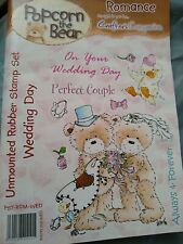Crafter's Companion Popcorn The Bear Romance Unmounted Rubber Stamp Set