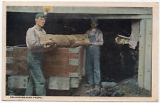 Postcard Miners Unloading Mine Props from Railway Cart at Tunnel Opening~106261