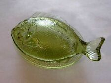 Martha Stewart 2 PC Sage Green Glass Covered Fish L.E.Smith Glass American Made
