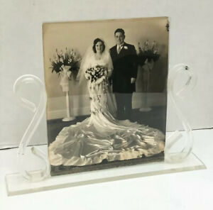 Lucite & Glass Curved Art Deco Picture Frame with Black and White Wedding Photo