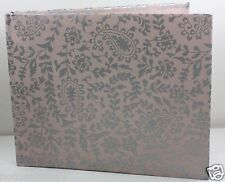 PINK W/ SILVER DESIGN FABRIC COVERED WEDDING ALBUM HEAVY STOCK PAPER KEEPSAKE