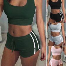 UK Womens Sleeveless Crop Top Shorts Tracksuit Set Sports/Gym/Run/Yoga Suit L1
