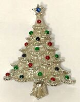 Vintage Silver Tone Signed Gerry's Enamel Holiday Christmas Tree Pin Brooch USA
