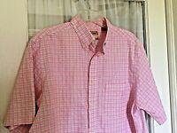Roundtree & Yorke MENS Short Sleeve GOLD LABEL LG Shirt Check pink black white