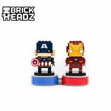 lego brickheadz ironman and captain america with exclusive coloured bases