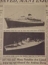 VINTAGE NEWSPAPER HEADLINE~OCEANLINER SHIPWRECK ANDREA DORIA SHIP SINKS DISASTER