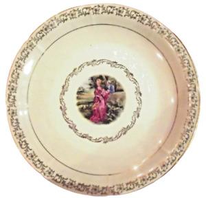 Ancien Plat rond de service dessins Fragonard porcelaine fine couple au balcon