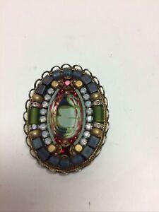 Ayala Bar Pin Pendant Beads Crystals Fabric Under Glass
