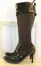MATERIA PRIMA Brown Leather Canvas Knee High Comfort Lime Green Boot 8M Italy!!!