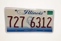 License Plate Illinois Land of Lincoln PAIR 727 6312
