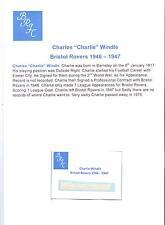 CHARLIE windle Bristol ROVER 1946-1947 rara mano originale firmato TAGLIO / CARD