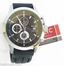 RELIC BLACK RUBBER CHRONOGRAPH+DATE MENS WATCH+MODEL# ZR66024-NEW+TAG
