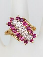 Estate $3000 2ct Natural SI1 H Diamond Ruby 14k Yellow Gold BIG CLUSTER Ring 7g