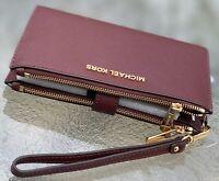 Michael Kors Merlot Saffiano Leather Jet Set Double Zip Phone  Wallet Wristlet