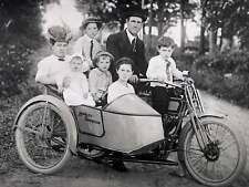1920s Family of 7 Sitting on a Harley Davidson with side car 8 x 10 Photograph