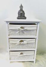 3 Drawer Wooden Frame Wicker basket Drawer Storage Unit Bed bathroom Storage