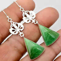 Natural Chrysoprase - Australia 925 Sterling Silver Earrings Jewelry AE26208