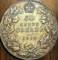 1910 CANADA SILVER 50 CENTS COIN - Victorian leaves - Nicer example!