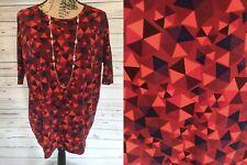 Lularoe Irma Tunic XS Extra Small (6-8) Maroon Red Dark Salmon Triangles NWT NEW