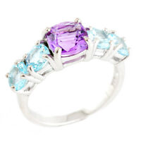 100% NATURAL 7MM AMETHYST & SKY BLUE TOPAZ AAA++ STERLING SILVER 925 RING SIZE 8
