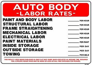 AUTO BODY LABOR RATES 20x28 Heavy Duty Plastic Sign AP-35