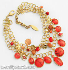 Chico's Signed Necklace Gold Tone Multi Chains Red Pink Orange Charms Statement