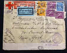 1940 Helsinki Finland Express Censored Airmail To New York Usa