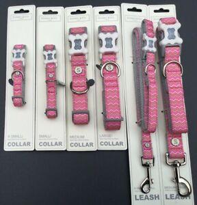 Sydney & Co  Grey Dog Pink Chevron Collar Leash Lead Various Size