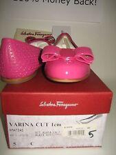 $525 NEW Salvatore Ferragamo Women Varina US 5 C Pink Leather Ballet Flats Shoes