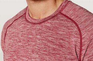 Lululemon Mens Metal Vent Tech SURGE Long Sleeve LS Caliente Red White-Small-EUC
