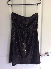 Women's Black Shiny Tile Print Sleeveless Bandeau Top Size 10