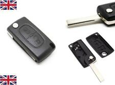 NEW 2 Button Flip Key Fob Case Shell Blade For PEUGEOT 207 307 308 & 407 + LOGO
