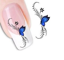 Nail Art Sticker Water Decals Transfer Stickers Blue Butterfly (DX1439)