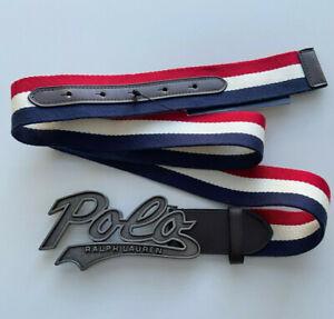 Polo Ralph Lauren Logo Buckle Striped Belt Size 36 / 90